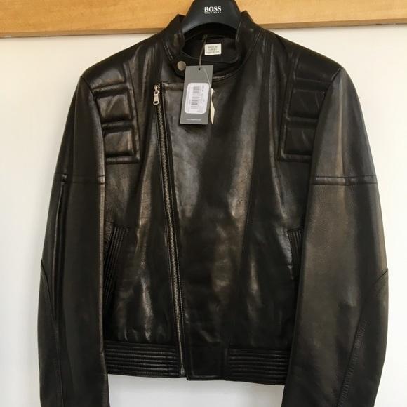 ca67119bb Hugo Boss Jackets & Coats | Orange Motorcycle Leather Jacket | Poshmark